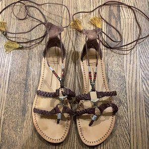 Dolce Vita Gladiator Lace up Leather Sandals 8